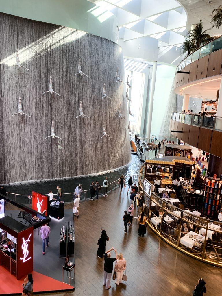 Dubai mall waterfall and shops