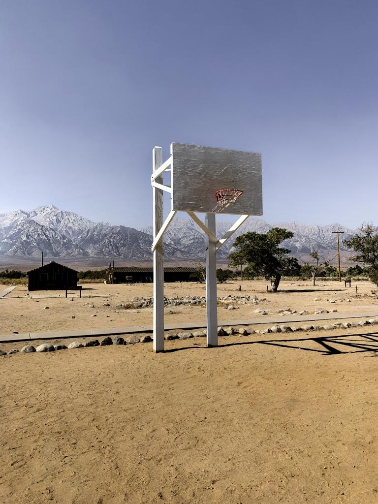 recreated basketball court at Manzanar