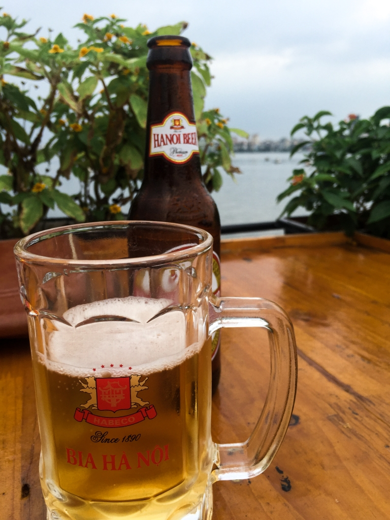 Hanoi westlake beer with a view